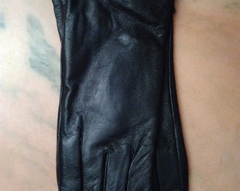 Leather gloves black decorated lace color black