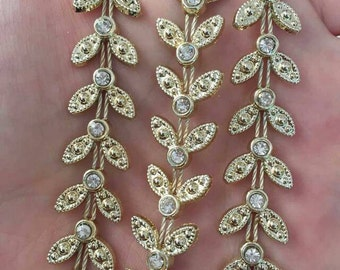 1 Yard Gold bottom leaves rhinestone Chain Sewing Lace Trims Crafts Wedding