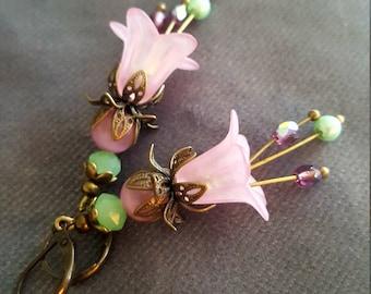Vintage Inspired Pink Lucite Flower Earrings