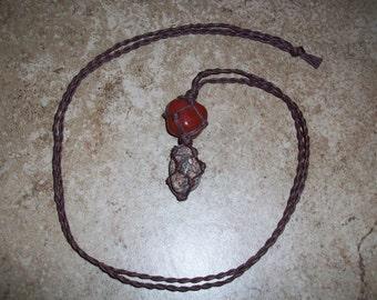 Red Jasper and Leopardskin Jasper Hemp Necklace