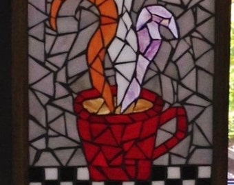 Stained Glass Mosaic Window Hanging/Sun Catcher/Coffee Mug/ Retro/Glass on Glass