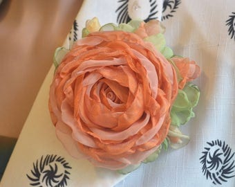 Brooch. Flower brooch. Rose brooch. Brooch orange.  Brooch made of fabric.