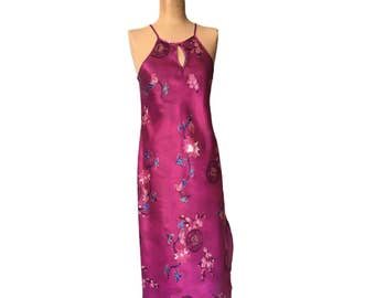 Oriental Silky Pink Halter Maxi Dress