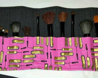 Make Up Brush Holder-Cosmetic Bag-Make Up-Mascara-Travel-Luggage-Make Up Luggage-Pink- Gold
