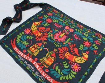 Vintage silk apron with Hungarian folk art motifs