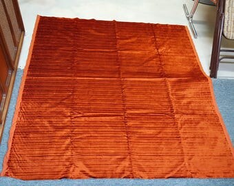 Beautiful Vintage shimmery rust orange striped velvet fabric! A MUST SEE
