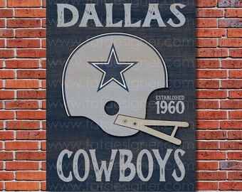 Dallas Cowboys - Vintage Helmet - Art Print - Perfect for Mancave