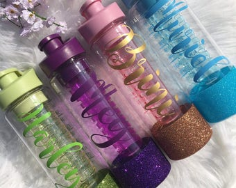 Personalised Water Bottle / Glitter Water Bottle / Fruit Infusion Water Bottle / Drinking Bottle / Water Bottle Tracker / Water Bottle Name