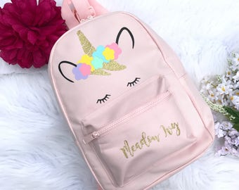 Unicorn Bag - Personalised School Bag - personalized backpack - School Bag - Pink Backpack - Girls Backpack -