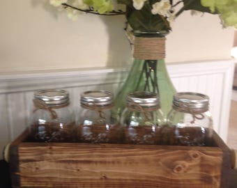 Wood Box with Mason Jars
