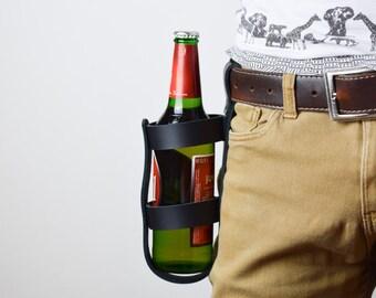Leather bottle holder, gift for men, leather bottle carrier, groomsmen gift, leather beer holder, beer holder, leather anniversary gift