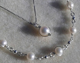 Sale! Sterling Silver Wrapped Freshwater Pearl Necklace and Bracelet Set
