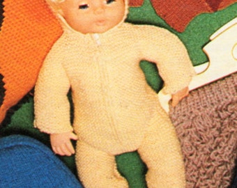 baby doll all in one sleepsuit knitting pattern pdf  baby doll clothes outfit hooded 16 inch doll QK 5ply 4ply pdf instant download