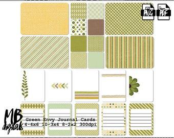 ENVY Journal Cards, Green Envy, Argyle Cards, Flowers, Leaves, Stripes, Printable Cards, INSTANT DOWNLOAD