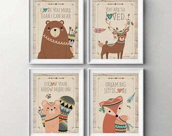 Woodland Animals Nursery Art Prints - Baby Wall Decor - Kids Wall Decor -  Boho - Fox - Bear - Deer - Squirrel - Forest Animals - Print 5x7