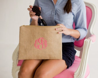 Makeup Bag Monogrammed Makeup Bag Cosmetic Bag Personalized Cosmetic Bag Burlap Makeup Organizer Monogrammed Bridesmaids Gifts for Her