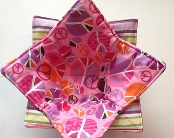Microwave Bowl Cozy - Pink Peace
