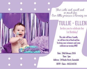 """Professionally Printed 1st Birthday Invitation """"Plus FREE Thank you Card"""". Also available as a Printable JPEG File!"""