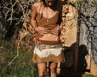 handmade leather skirt in colours different brown and cream, with rivets, fringes and feathers, adaptable buttons
