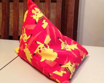 iPad Mini Beanie / Kindle Stand / e Reader Pillow / Tablet Cushion - Red with Yellow Pokemon