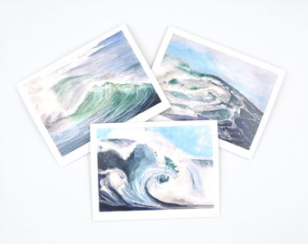 Blank Watercolor Notecard Set - Gift For Surfer - Nautical Notecards - Watercolor Ocean Notecards - Pretty Notecards - Ocean Wave Art