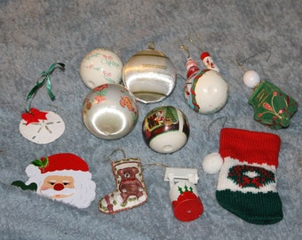 13 Vintage Unique Holiday Ornaments for the Christmas Tree, Seasonal Decor, Home Decoration, Most Are Lightweight, Santa Stocking NICE
