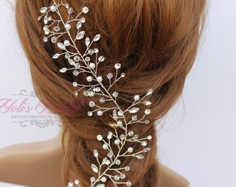 New!!! Swarovski and Pearl Hair Vine