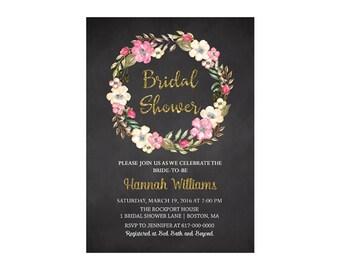 Floral Bridal Shower Invitation, Pink Floral Wreath Bridal Shower, Bridal Shower Invite Printable JPEG