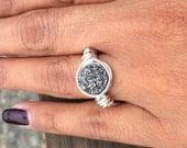 Fine silver 999 Druzy Ring,Druzy Quartz Handmade R01.