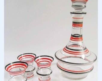 Vintage French 50 MCM Glass Liquor Decanter Shot Size Glasses Retro Bar Drinks