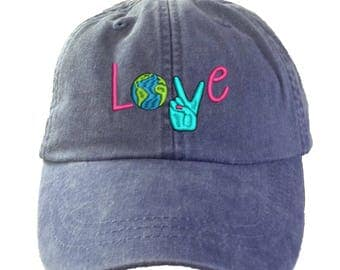 Love World Peace   Hat - Embroidered. Adjustable Leather Strap. More Colors. HER-LP101