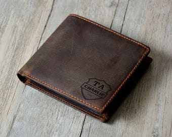 Father's Gift,Personalized Mens Leather Wallet,Monogrammed Wallet, Groomsmens Wallet  Gift, Father''s Day Gift, Dark Brown Wallet