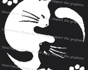 Yin Yang Cats Crochet graph Pattern