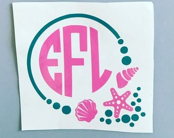 Seashell Monogram Decal