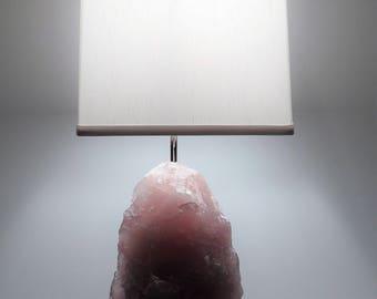 """Rose Quartz Rock Crystal Table Lamp """"Rosetta"""" -- Crystals// Lamp//Gemstone Lamp//Mineral Lamp//Geode Lamp"""