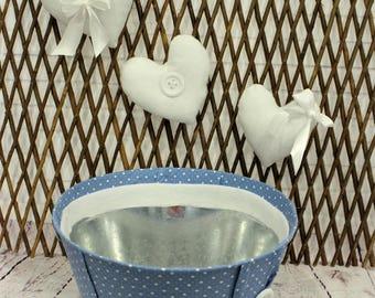 Metal  dots  bucket, blue  bucket, bucket, newborn bucket, newborn blue bucket