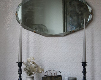 Pretty Vintage 50s Mirror with Beveled Glass and Pretty Clasps on Original Chain