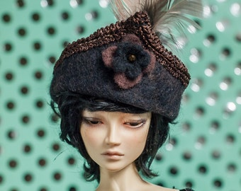Black and brown felt hat for 1/3 BJD