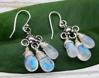 Rainbow Moonstone Chandelier Earrings / Dangle Drop Sterling Silver BoHo Earrings / Wrapped Briolette Earrings Blue Fire