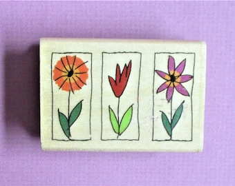Trio of Flowers Image Papercraft Rubber Stamp Wood Block Mounted Stamp Planner Scrapbooking Card Making DIY Party Invitation Craft Supply
