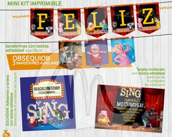 Printable and editable texts kit with SING! INSTANT DOWNLOAD!