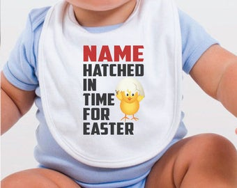 Personalised Hatched In Time Easter Bib