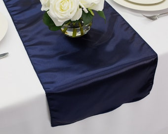 Navy Blue Satin Table Runner | Wedding Table Runners