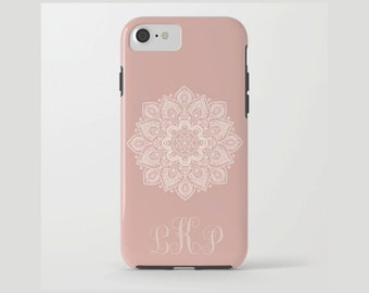Custom Device case for iPhone / Samsung Galaxy, iPhone 7 /7s, iPhone 6 /6s, Samsung, Galaxy, Phone, Mandala, Peach, Pink, Custom, Name, Gift