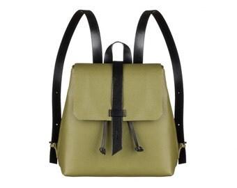 Women olive leather backpack, women bag, olive leather bag, handmade leather backpack, leather backpack, olive backpack