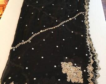 Black Chiffon Silk Shawl, Gorgeous BLACK Chiffon Silk SHEER embroidered Dupatta, gorgeous Black with gold and amber embroidery dupatta