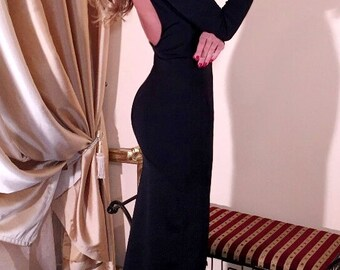 Black Maxi Bodycon Dress Backless Long Sleeves