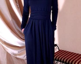 Navy Blue Maxi Dress  Round Neckline Long Sleeves Pockets