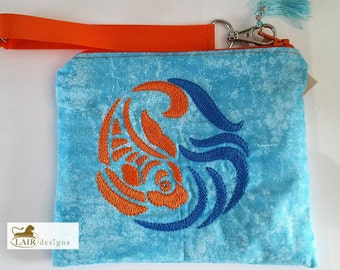 Koi Fish Wristlet with Detachable Handle
