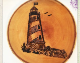 Made to order wood burned lighthouse coaster